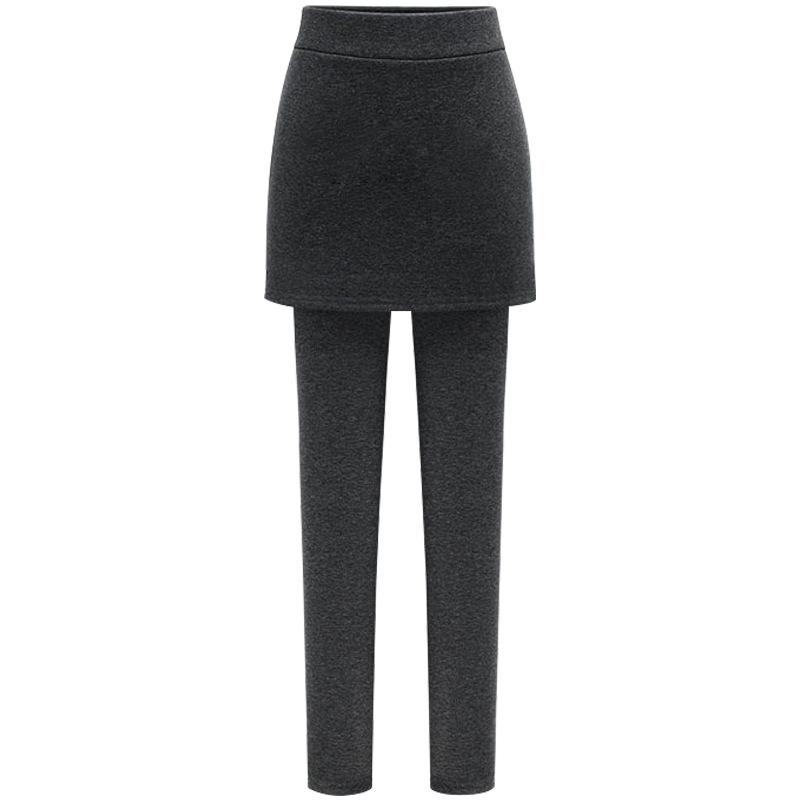 Women Fales 2 Leggings And Skirt Fake Two In One Winter Plus Size Highwaist Fitness Warm Sexy Pants