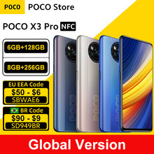"Versão Global POCO X3 Pro 128GB / 256GB Snapdragon 860 Smartphones NFC 6.67 ""120Hz DotDisplay 5160mAh 33W Carga Quad Câmera"