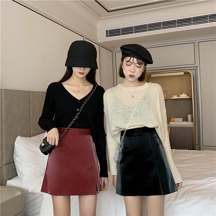 Small Leather Skirt Sexy  Midi Pencil Skirt Women Fashion Elastic High Waist Lady Bodycon Skirts  Skirt Vintage Miniskirt