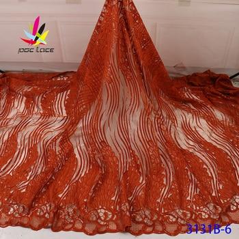 Vestido de encaje naranja quemado Aso Ebi tela africana nigeriana francesa bordado de alta calidad más vendido para la boda
