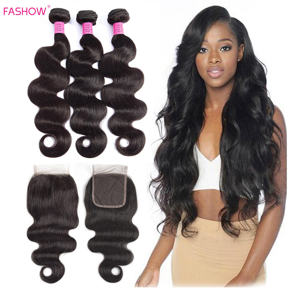 Fashow Hair Peruvian Body Wave Human Hair Bundles With 4*4 Lace Closure 3 Bundles with Hand Tied Closure Better Remy Hair Weavespre   -