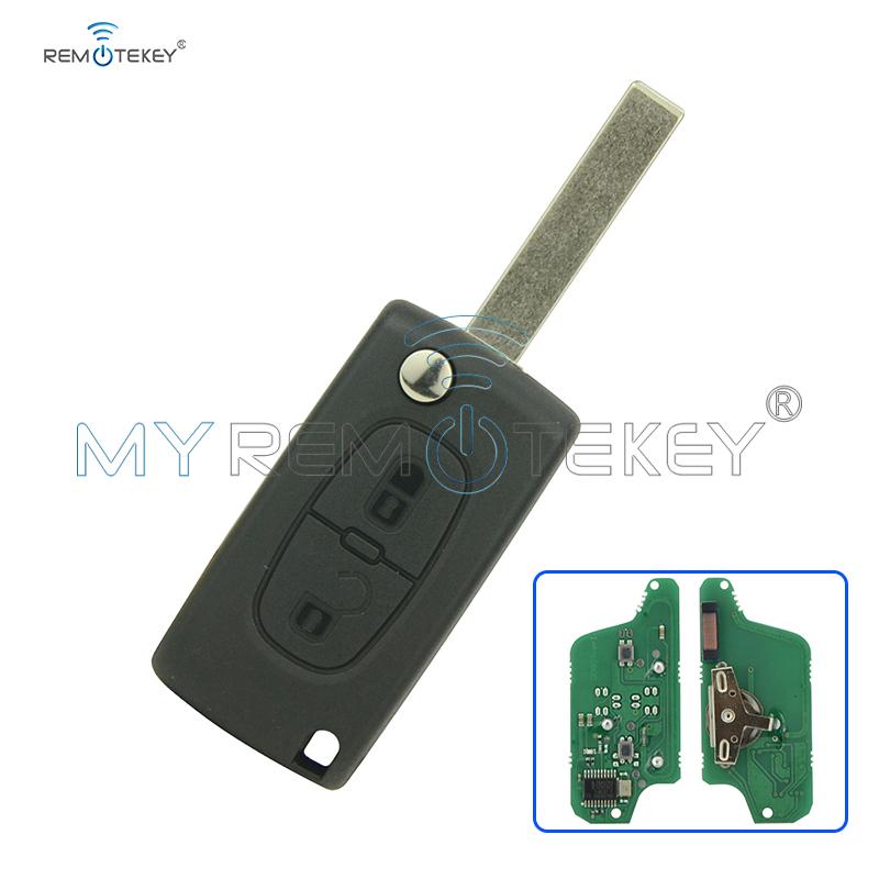 CE0523 Flip remote car key 2 button for Peugeot for Citroen ASK 433 mhz ID46 - PCF7941 HU83 remtekey