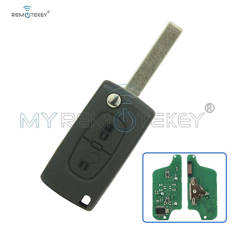 CE0523 Flip externe autosleutel 2 knop voor Peugeot voor Citroen ASK 433 mhz ID46 - PCF7941 HU83 remtekey