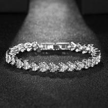 Fashion Luxury Cubic Zirconia Tennis Bracelets Charm Crystal Wedding Bracelet For Women Men Silver Color Bracelet Jewelry Gift homod charm heart shape bracelet 65mm cubic zirconia silver color smooth brand bracelets