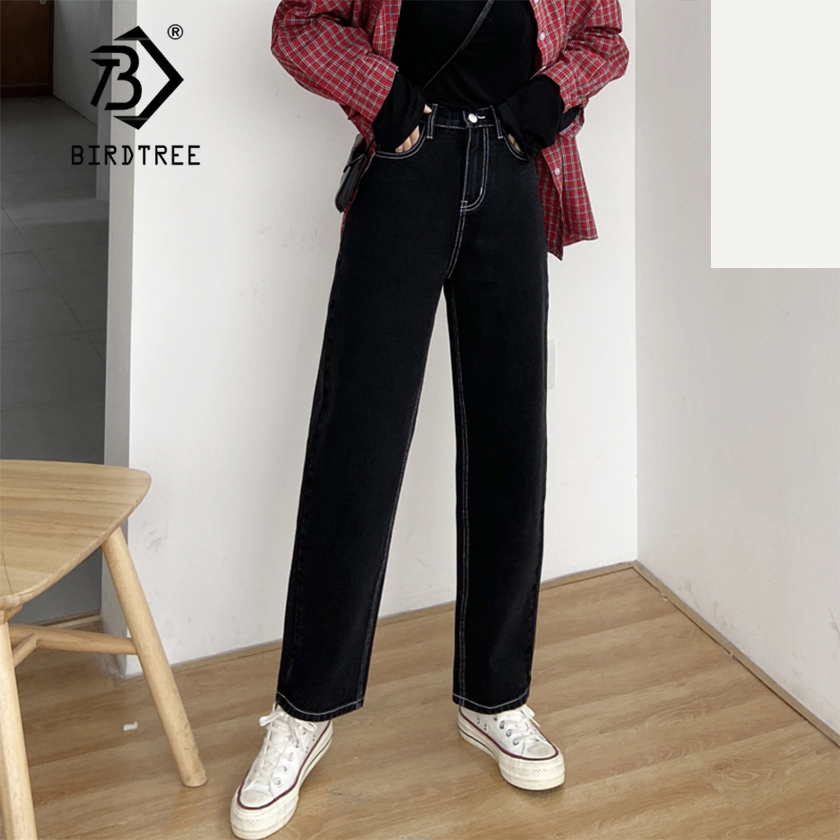 Spring New Vintage High Waist Slouchy Mom Jeans Boyfriend Denim Straight Pants For Women Autumn Casual Wide Leg Trousers B01620T