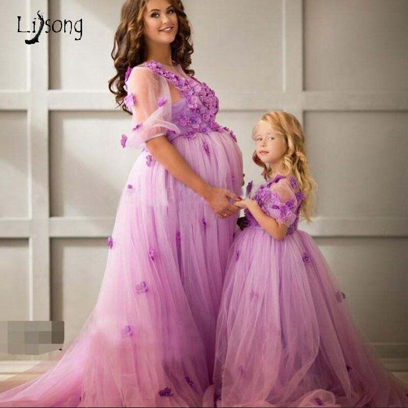 Princesse 3D fleur mère robes Couture lavande soirée robes manches courtes femmes enceintes Tulle longues robes formelles