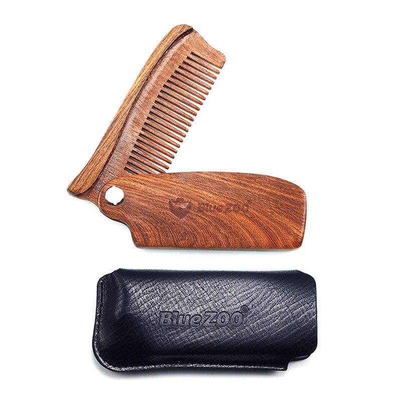 Blue ZOO Natural Black Golden Sandalwood Teeth Beard Comb Bearded Man Grooming Fashion Leather Bag Handle Hair Care Folding Comb
