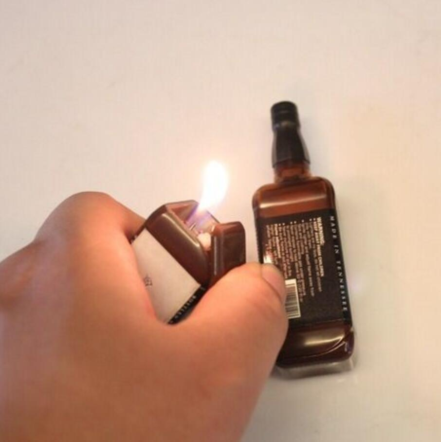 Bottom Version Novelty Lighter Jack-Daniel Wiskey Bottle Windproof And Refillable Butane Lighter For Studio Background