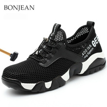 Mens Steel Head Safety Work Shoes Mesh Light Breathable Casual Sports Anti-piercing Labor Insurance