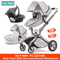 Hot Mom Baby Stroller 3 in 1 travel system High Land-scape stroller with bassinet in 2019 Folding Carriage for Newborns baby