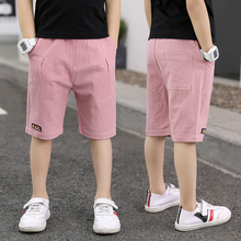 Shorts Beach-Wear Teenager Boy Summer Waist-Trousers Solid-Pants Kids Cotton Casual Children
