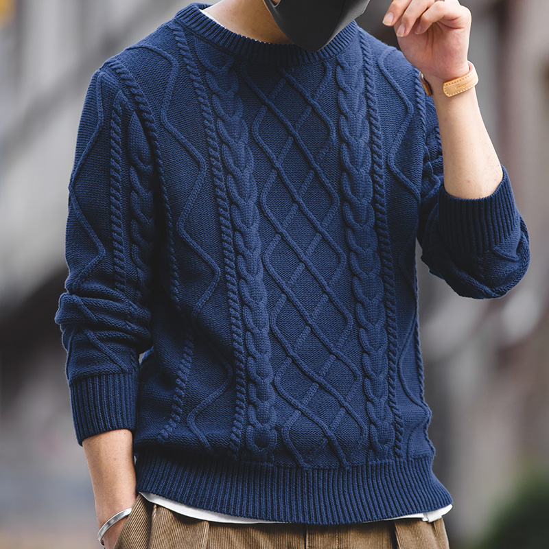 Men's Crew Neck Cable Knitted Heavy Weight Warm Winter Pullover Sweater Navy Blue