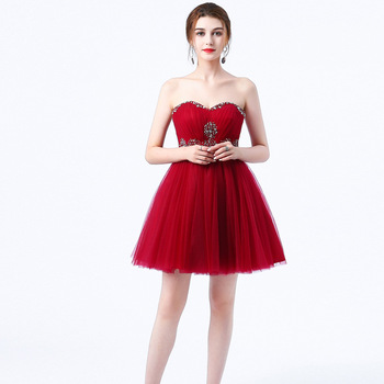 Stock Tulle  A Line Sweetheart Beading Crystals Knee Length Bridesmaid Dresses Wedding party dresses  robe de soiree Lace Up