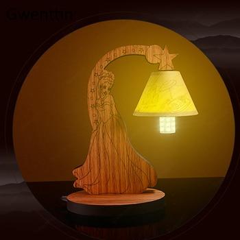 Wood Princess Table Lamp for Children\'s Bedroom Bedside Home Decor Study  Standing Desk Led Light Fixtures Kids Gifts Luminarias