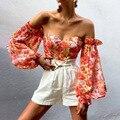 Женский укороченный топ с открытыми плечами, винтажная Элегантная блузка с принтом листьев и оборками для отдыха и пляжа, лето 2021