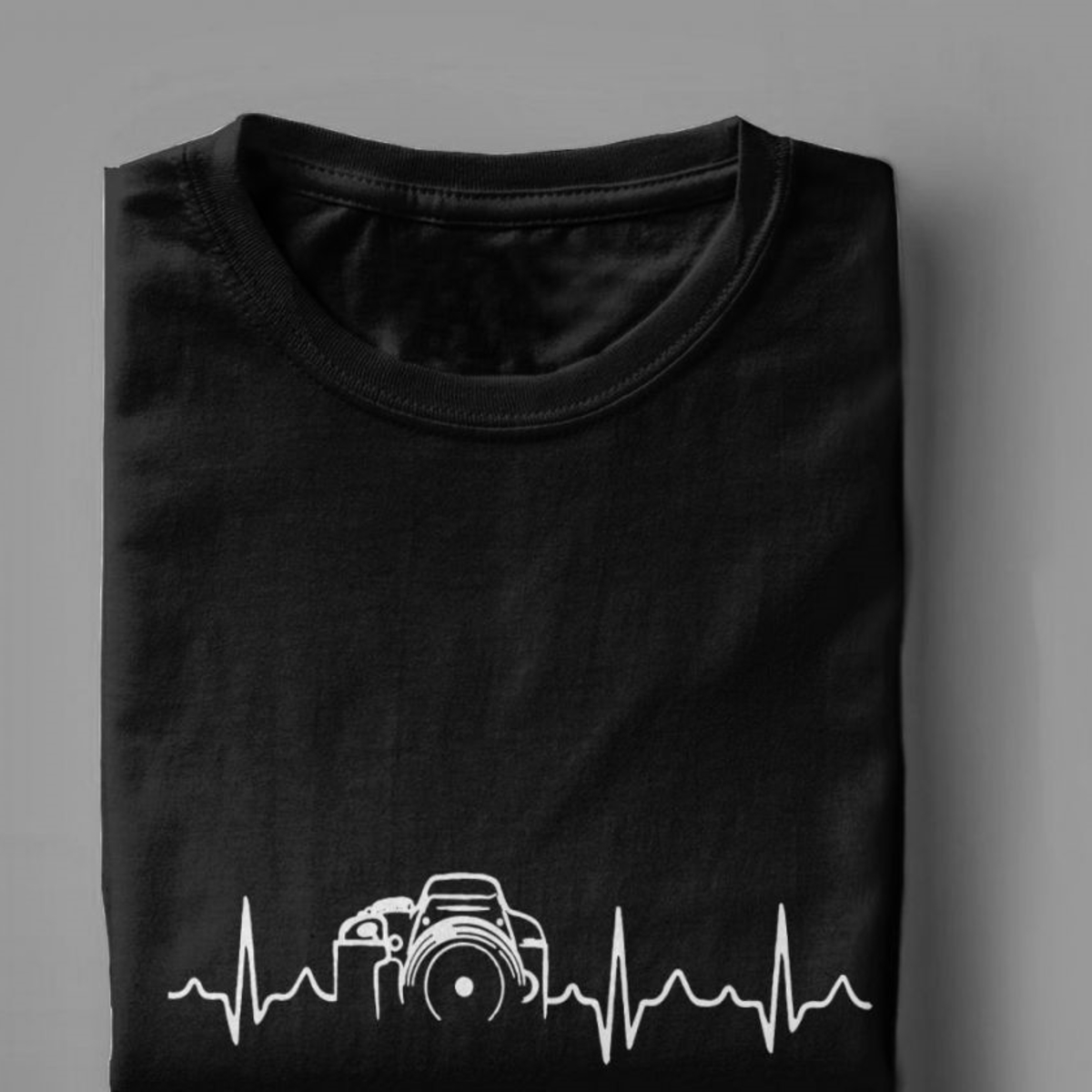 Heartbeat Of Camera Tshirt Men Cotton Casual Tee Shirts Crew Neck Photographer Tee Shirt Tops Graphic Printed