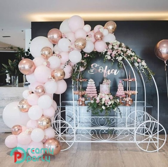 65pcs 4D Round Rose Gold Balloon Garland Arch Mixed Light Pink White Latex  Balloons Strip Chain for Birthday Wedding Decoration