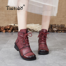 Tastabo Genuine Leather ladies ankle boots Khaki Black Red wine S88205 daily Womens boots Retro Style Comfortable soft bottom