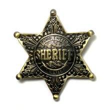 Estrela hexagonal estrela emblemas de honra ornamento jóias para vaqueiro dos desenhos animados do xerife dos prêmios