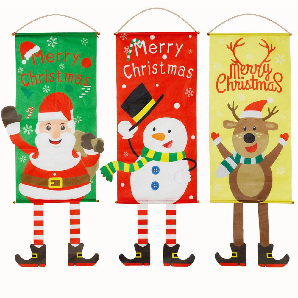 Kuulee Christmas Snowman Elk Santa Claus Cloth Hanging Flag Merry Christmas Banners For Home Xmas Ornaments