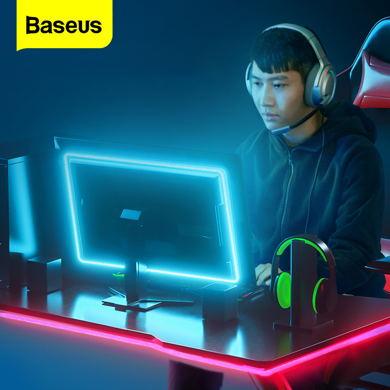 Baseus LED Light Strip USB Power Flexible Lamp DC 5V LED RGB Color Lighting Compute TV Bedroom Background Game Atmosphere Light