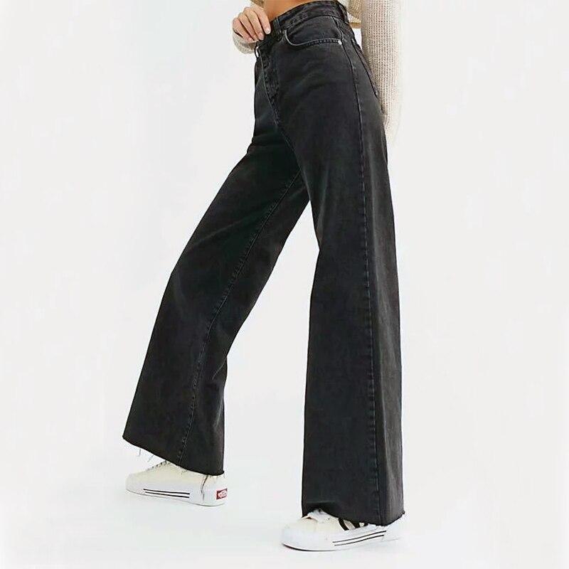 Women Organic Cotton Wide Leg Jeans With Raw Cut Hem