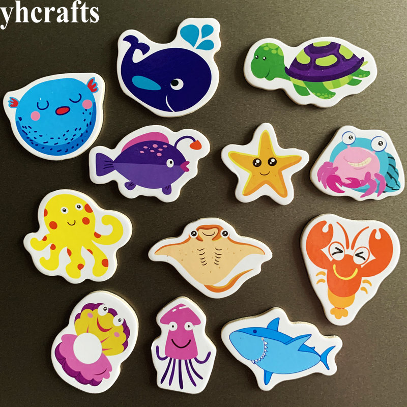 12PCS/Lot Mix Ocean Animals Fish Crab Wooden Fridge Magnet Creative Cartoon 3D Whiteboard Stickers Toys For Children Kids Diy