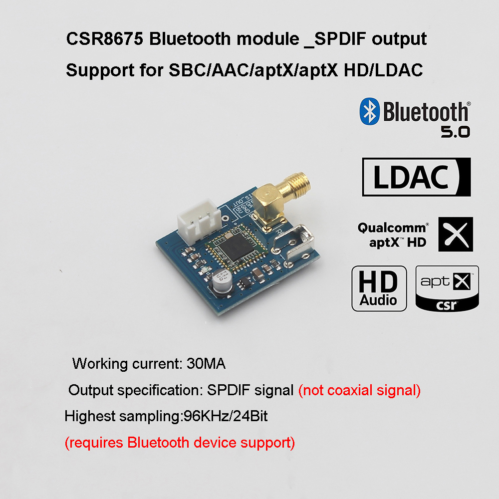 CSR8675 Bluetooth Audio Module Low Power Bluetooth 5.0 Receiver LDAC Lossless SPDIF For AK4493
