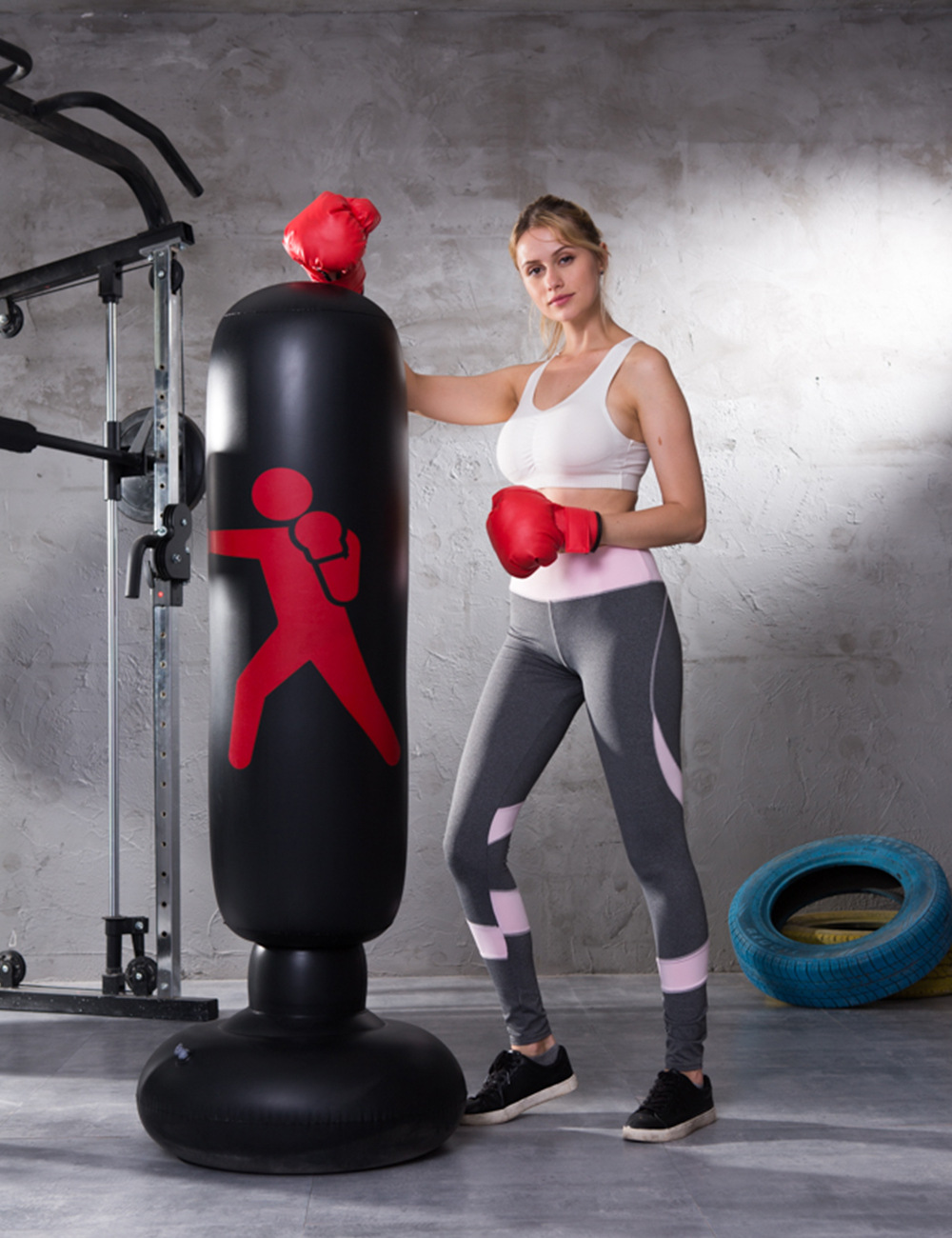 Decompression Training at Home or The Gym for Adult and Children Yous Auto 160cm Inflatable Punching Bags,Fitness Punch Bag Free Standing Kick Boxing Bag