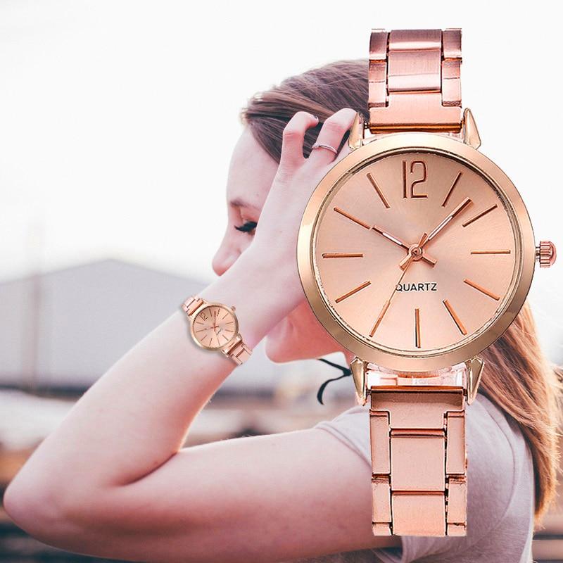 Women's Luxury Stainless Steel Watch Quartz Popular Metal Pointer Small Dial Ladies Business Casual Wrist Watch Reloj Mujer
