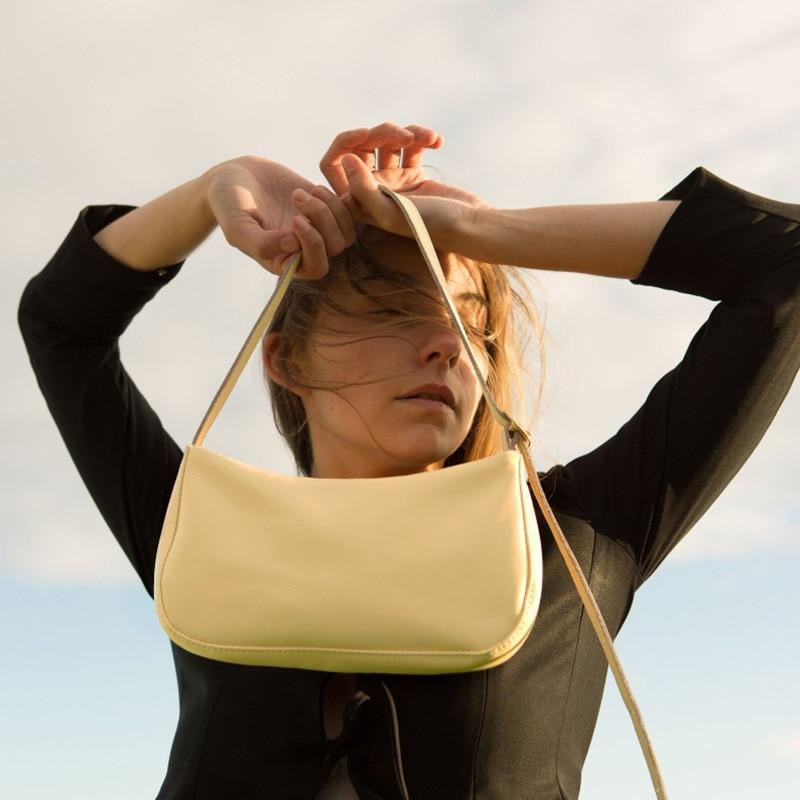 Women's Shoulder Bag 2020 Summer New Designer Simple Baguette Bag Pu Leather Portable Yellow Small Bag  Purses And Handbags