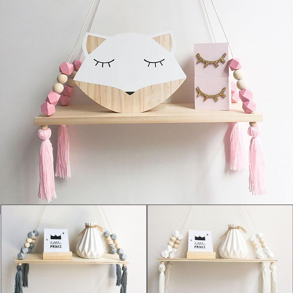 Macaron Style Shelf Pink Octagon Beads Decoration Storage Wall Hanging Wooden Toy Model Children Room Furnishing Decoration