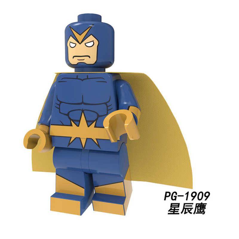 Bloque de construcción de Legoly PG8217 superhéroes Pantera Negra gato negro tenedor rojo hombre araña Superman Starhawk muñecas figuras niños Juguetes