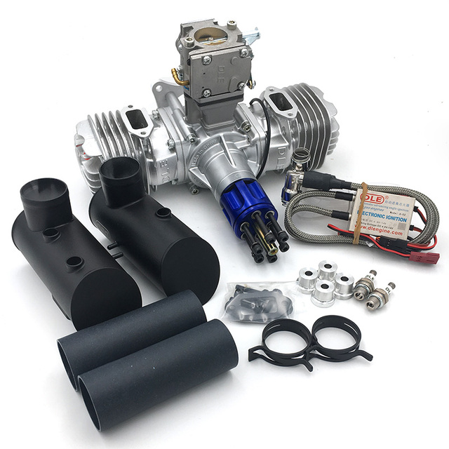 DLE130 RC Model Gasoline Engine Two Cylinder 130CC Displacement Dual Cylinder Two Strokes Air Cooling Hand Start