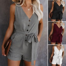 2020 summer Europe and America solid color casual v-neck bow jumpsuit