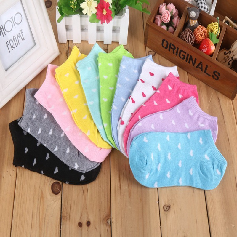 10pcs/5pair Women Cotton Socks Candy Color Heart Dot Solid Low Cut Socks For Women's Thin Socks Slippers Girls Meias Sokken Sox