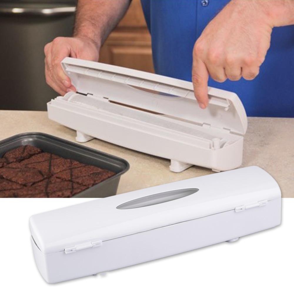 1 Pc 2017 New Kitchen Plastic Food Cling Wrap Foil Dispenser Cutter Preservative Film Tool Drop Shipping