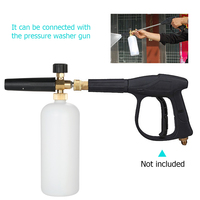 Car/Motorcycle Washing Adjustable Foam Cannon 1 Liter Bottle Snow Foam Lance with 1/4 Quick Connector for Pressure Washer Gun