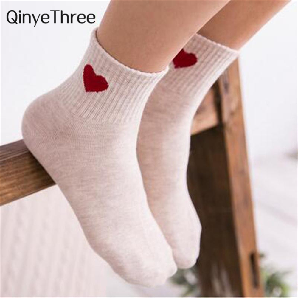 2018Casual Pretty Heart Love Socks Cute Comfortable Sock Girl Female Women Winter Summer Fall Sporting Leisure Pure Cotton Meias