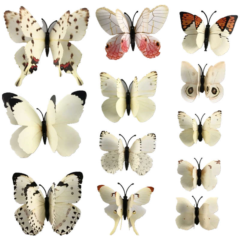 Hot Sales Wall Sticker 12Pcs Double Layer 3D Butterfly PVC On The Wall Home Decor Butterflies For Decoration Fridge Stickers