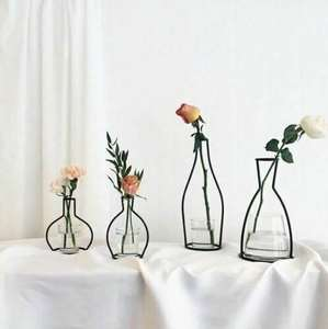 Minimalist Vase Flower-Rack Iron-Decor Lines Plants Abstract Black Nordic Life