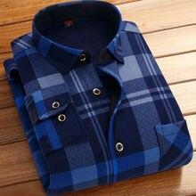 Модные зимние толстые фланелевые теплые клетчатые рубашки с длинным рукавом мужские повседневные тонкие рубашки подходят Camisa Social Рубашки 4XL