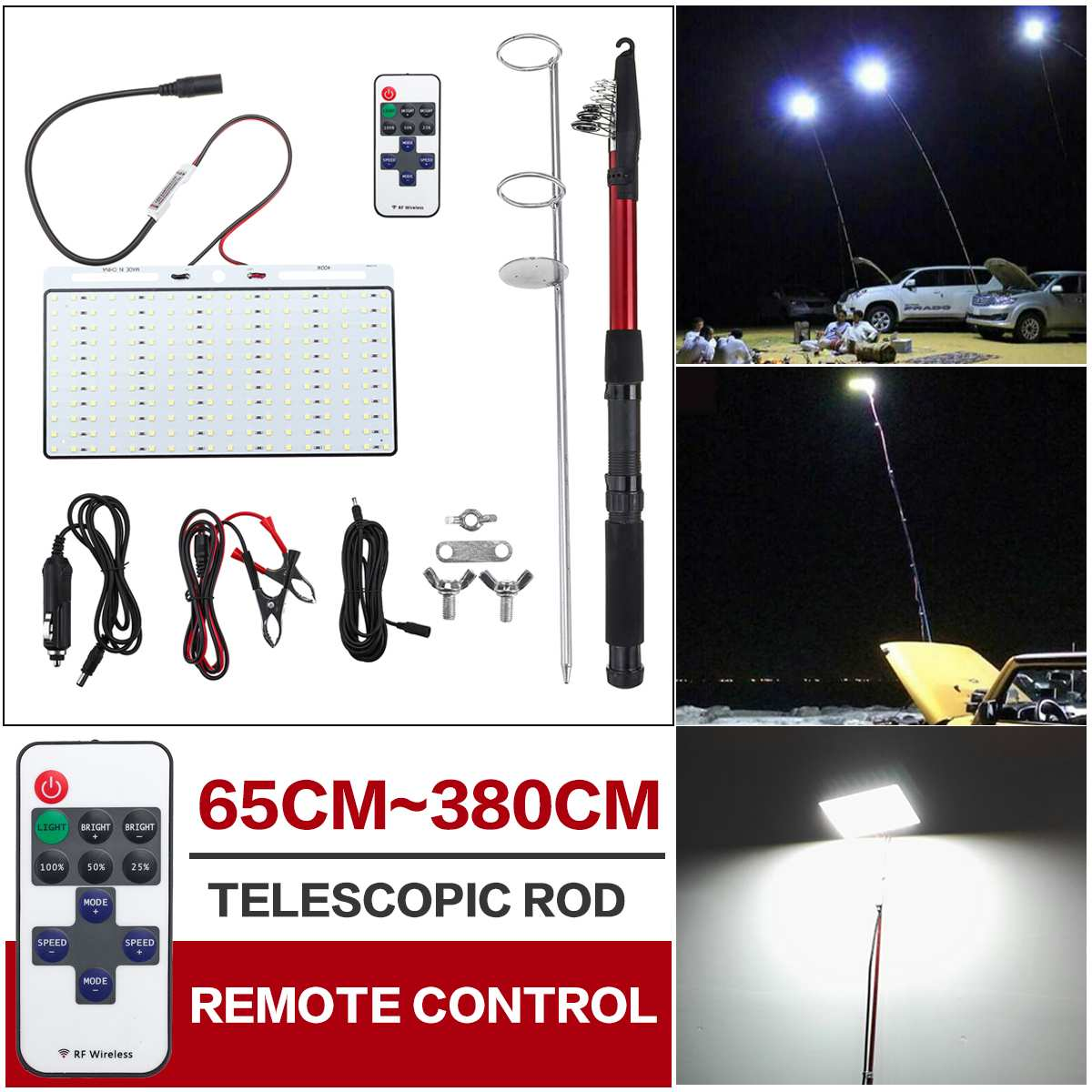 Remote Camping Light Fishing Telescope Car Rod Light Lamp With Remote Control