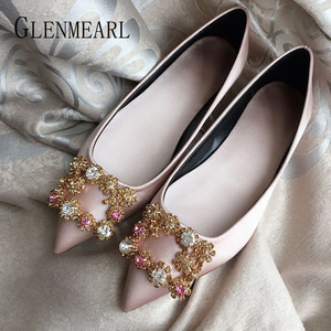 Women Flats Wedding Shoes Rhinestone Pointed Toes Cinderella Cryatal Shoes Flat Slip On LoafersPlus Party Shoes ballet luxury