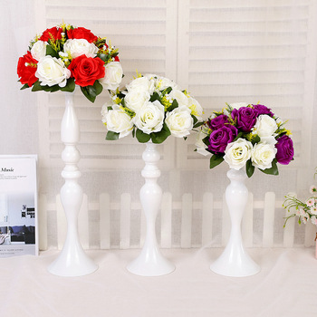 5pcs/lot White Candle Holders 50cm Iron Candlestick Flower Vase Table Centerpiece Event Flower Rack Road Lead Wedding Decoration