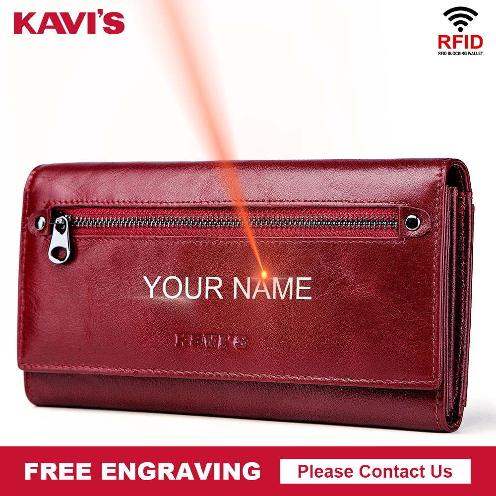 KAVIS Free Engraving Genuine Leather Women Wallet And Purse Female Coin Purse Portomonee Clamp For Money Bag Zipper Handy Perse