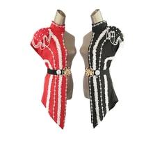 Nieuwe Mode vrouw Patchwork podium kostuums Zangeres ds dj kostuums volwassen witte Parel ketting Kraag gouden riem dans kleding