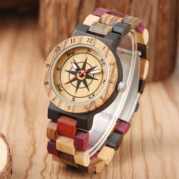 Nice Colorful Wooden Watches for Women Compass Dial with Luminous pointers Wood Watch Color Matching Design Strap orologio donna