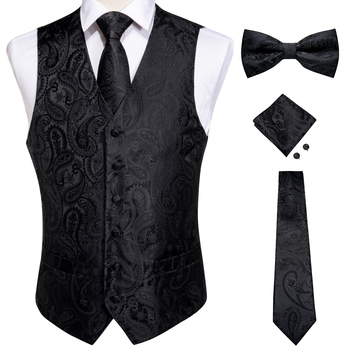 Vests For Men Slim Fit Mens Wedding Suit Vest Casual Sleeveless Formal Business Male Waistcoat Hanky Necktie Bow Tie Set DiBanGu 18