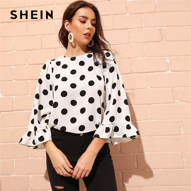SHEIN Black And White Polka Dot Blouse Women 2019 Autumn Holiday Flounce Sleeve Keyhole Back Elegant Ladies Tops And Blouses